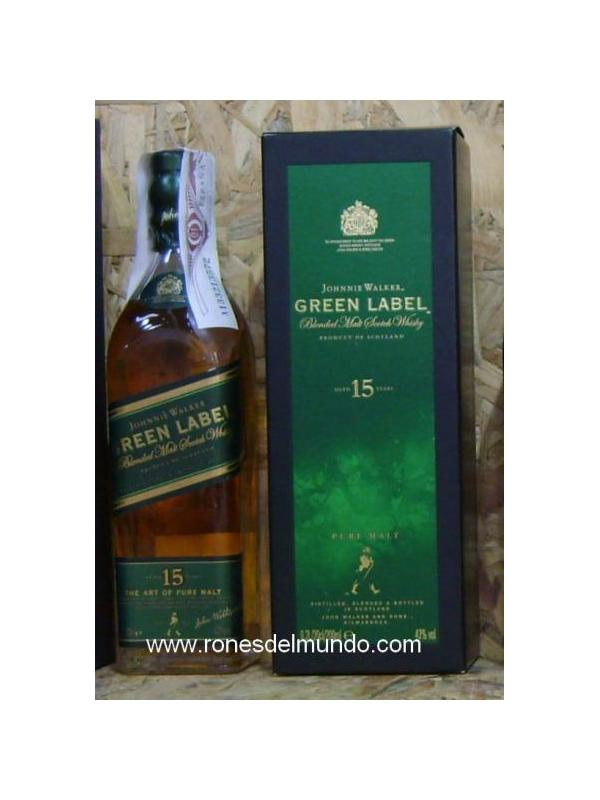 PETACA WHISKY JHONNIE WALKER GREEN LABEL 20 CL - WHISKY ESCOCES DE 15 AÑOS EN FORMATO PETACA