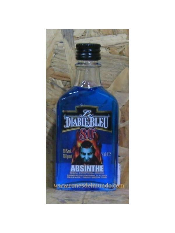 MINIATURA ABSENTA LE DIABLE BLUE 80  4 CL - MINIATURA ABSENTA LE DIABLE BLUE   4 CL, BOTELLA CRISTAL, GRADUACION 80 º