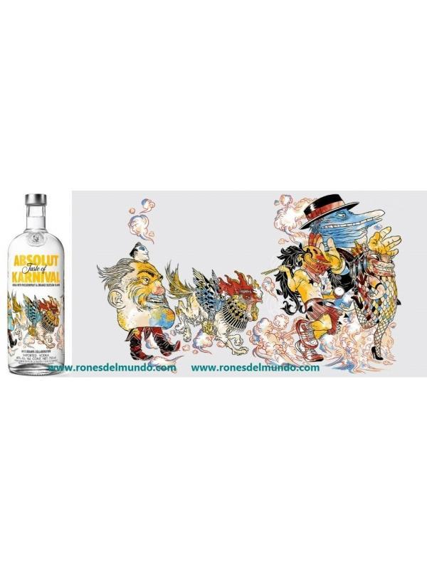 VODKA ABSOLUT TASTE OF KARNIVAL - VODKA ABSOLUT TASTE OF KARNIVAL Esta vodka con la colaboración de R. Grampá en su decoración con una botella muy colorida. Este vodka es con sabor a Flor de naranja y fruta de la pasión. Botella de 1 litro con una graduacion de 40 %