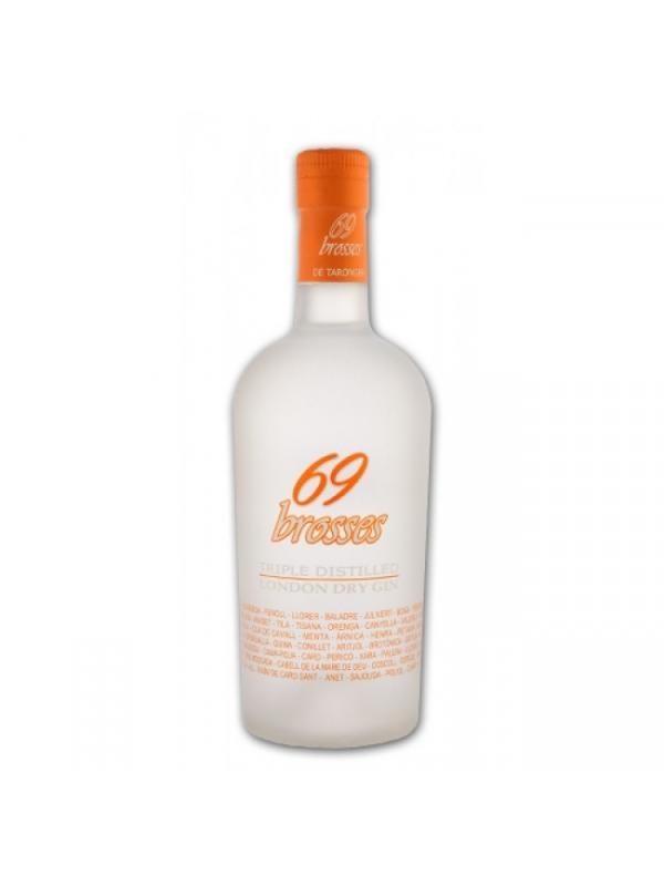 GINEBRA 69 BROSSES  TARONGER (NARANJA NAVELINA ) - 69 Brosses Taronger se presenta como una espectacular y única Ginebra Premium de mandarina navelina, una Triple distilled London Dry con una graduación del 40%, con un tono mandarina navelina