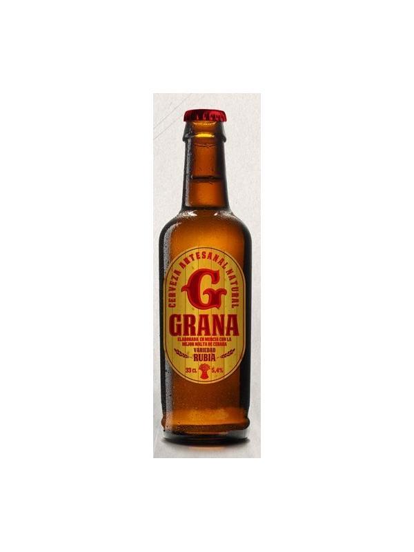 CERVEZA ARTESANA GRANA ( MURCIA ) - CERVEZA ARTESANA GRANA ( MURCIA ) CERVEZA TOSTADA 5.2 % ALC Cerveza de alta fermentación elaborada con procedimiento artesanal, sin aditivos artificiales, sin filtrar ni pasteurizar. Segunda fermentación en botella, contiene posos y sedimentos que garantizan la auntenticidad de una cerveza natural