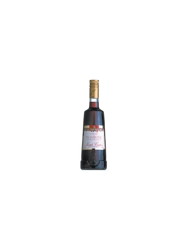 LICOR FRANBUESA DE BORGOÑA - JOSEPH CARTRON - BOTELLA 70 CL - ALCOHOL 18 % - ORIGEN BORGOÑA. Para esta crema, la Maison Joseph Cartron ha seleccionado dos variedades de frambuesas, la Framboise Lloyd George y la Rose de Plombières, que se caracterizan por la delicadeza y la autenticidad de su sabor. Éstas han sido cultivadas en las Hautes Côtes de Borgoña, lo cual es una garantía de su calidad. Para su elaboración se llenan las cubas con frutas a 2/3 de su volumen y se le añade alcohol extra fino. La maceración se realiza en frío durante 4 - 5 semanas hasta que la mezcla es perfecta. La infusión obtenida es trasegada y luego filtrada cuidadosamente. La incorporación lenta de azúcar cristalizada rebaja de forma natural la proporción de alcohol y desarrolla el sabor de la fruta. Todos este proceso se realiza de forma artesanal, siguiendo la receta de la Maison Joseph Cartron.   Encontramos en el paladar la deliciosa nota de frambuesa, en toda su intensidad y persistencia.