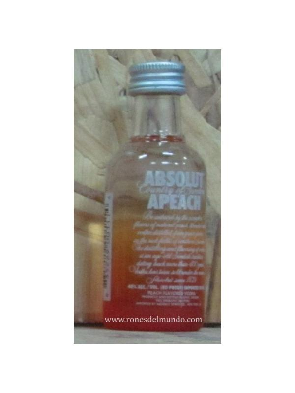 MINIATURA VODKA ABSOLUT APEACH ( MELOCONTON) 5 CL - MINIATURA VODKA ABSOLUT APEACH ( MELOCONTON ) BOTELLA CRISTAL 5 CL