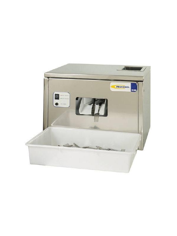 SECADORA DE CUBIERTOS SH-3000 - La SH-3000 de Frucosol es una máquina fiable diseñada para el secado y abrillantado de los cubiertos después de las operaciones de lavado, volviéndolos brillantes y eliminando las manchas de cal.  Los cubiertos deben de ser introducidos en manojos de forma continua por la abertura superior nada más salir del lavavajillas.  Consiga una mayor higiene, ya que los cubiertos salen impecables de la máquina, brillantes, secos y esterilizados.  Por sus reducidas dimensiones y su estructura está preparada para trabajar sobre cualquier soporte.