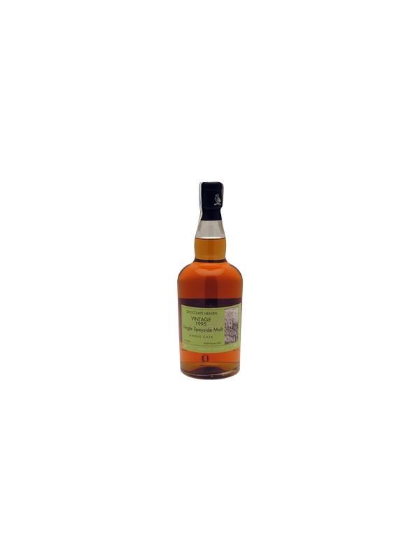 """WHISKY WEMYSS VINTAGE MALTS - CHOC HEAVEN - SPEYSIDE - Single Malt Single Cask Whisky - Alcohol 46 % - Región Speyside - año 1995 La destilería esta localizada en las laderas de la montaña más alta de Speyside, de la cual toma su nombre. Es una """"Vatting"""" de dos barricas consecutivas. La sensación en nariz es bastante fuerte cuando está en su estado natural, sin reducción, lo cual tiende a suprimir un poco su abanico de aromas. A pesar de esto, hemos detectado notas de chocolate y cocos secos con un toque de violetas de Parma. Estas últimas sensaciones en nariz son las que permanecen tras las reducción de este whisky, lo que le otorga su carácter de whisky de Speyside, pero con un toque de """"bosk"""", incluso de aserrín, con una ligera nota de carne seca. En nariz, este whisky se muestra seco, con ciertas reminiscencias de aceite de máquina al pasar unos instantes. En boca es muy dulce, con un cuerpo magnífico, con un final más seco y pleno de sabor."""