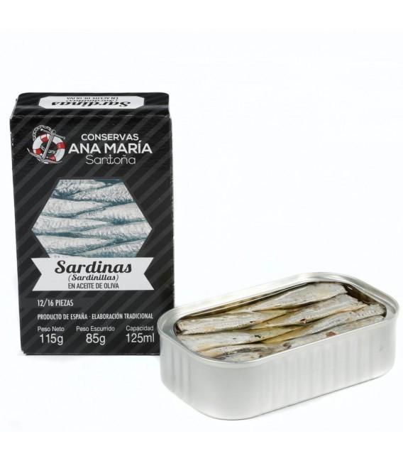 ANA MARIA SARDINAS EN ACEITE DE OLIVA 12/16 PIEZA 115G